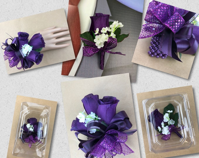 New Artificial Eggplant Rose Corsage, Plum Rose Mother's Corsage, Plum Boutonniere, Eggplant Bout, Plum Wedding Flowers, Plum Prom Corsage