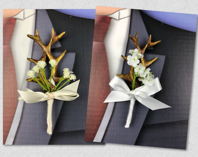 New White Artificial Antler Boutonniere, Ivory Antler Bout, Royal Antler Bout, The Hunt is Over Bout