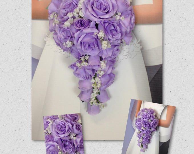 "New Jennifer Silk Lavender Teardrop Bridal Bouquet, Lavender and Baby's Breath Wedding Bouquet, 15"" in length."