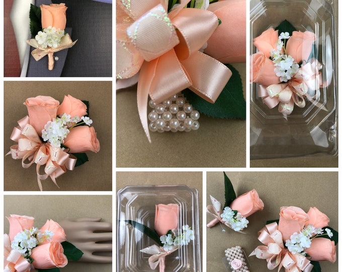 Silk Peach Rose Corsage, Peach Prom Corsage, Peach Men's Lapel Flower, Peach Buttonhole