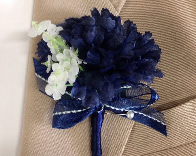 New Artificial Navy Carnation Boutonniere, Navy Bout, Navy Buttonhole, Navy Wedding Flowers