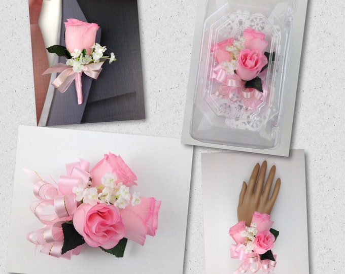 New Artificial Pink Rose Corsage, Pink Rose Mother's Corsage, Pink Corsage, Pink Wedding Flowers