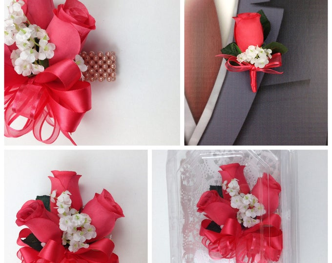 New Artificial Guava Rose Corsage, Guava Rose Mother's Corsage, Guava Corsage, Guava Wedding Flowers