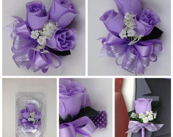 New Artificial Lavender Rose Corsage, Lavender Rose Mother's Corsage, Lavender Corsage, Lavender Wedding Flowers
