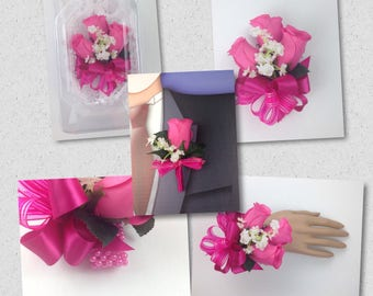 New Artificial Hot Pink Corsage, Pink Rose Mother's Corsage, Hot Pink Rose Corsage, Hot Pink Bout, Hot Pink Boutonniere