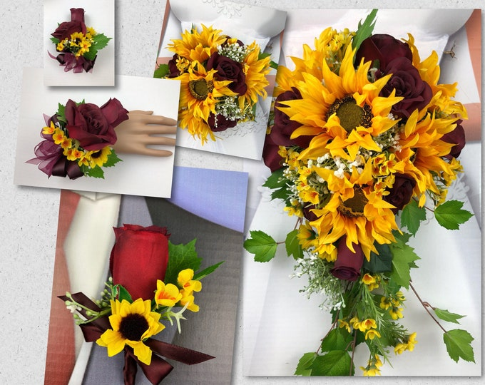Artificial Burgundy Sunflower Bridal Bouquet, Wine and Sunflower Bridal Flowers, Sunflower Wedding Flowers