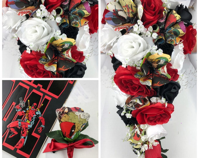 New Superhero Artificial Black, Red and White Wedding Flowers, Superhero Wedding Flowers