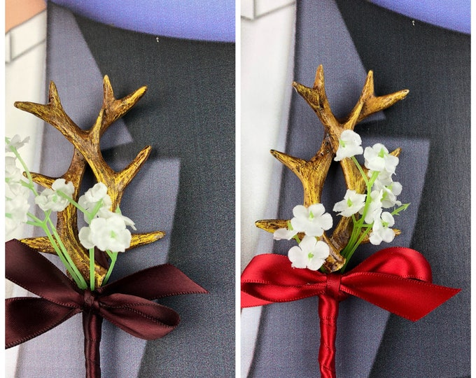 New White Artificial Antler Boutonniere, Red Antler Bout, Wine Antler Bout, The Hunt is Over Bout