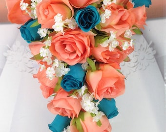 """New Artificial Coral and Malibu Wedding Teardrop Bouquet, 15"""" in length. Malibu and Coral Bouquet"""