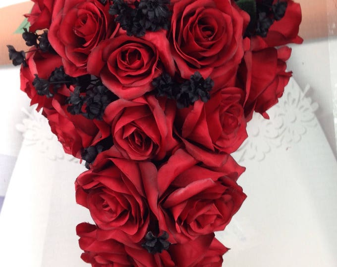 "New Artificial Red and Black Wedding Teardrop Bouquet, 15"" in length. Black Baby's Breath and Red Bridal Bouquet"