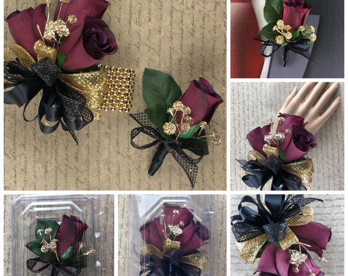 New Artificial Burgundy, Gold and Black Rose Corsage, Burgundy, Gold and Black Rose Boutonniere