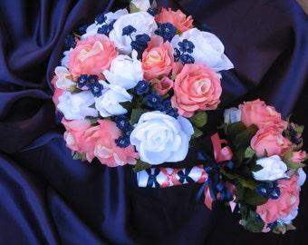 New Artificial Navy and Coral Reef Bouquets & Bouts, Navy and Coral Bridal Bouquets, Corsages and Bouts
