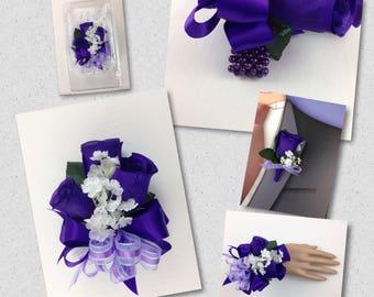 New Artificial Regency Purple Rose Corsage, Purple Rose Mother's Corsage, Purple Corsage, Purple Bout