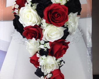 New custom halloween skull bridal bouquet walking dead bridal etsy new artificial black red and white wedding teardrop bouquet 15 in length babys breath red black and white bridal bouquet mightylinksfo