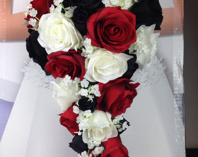 New Artificial Black, Red and White Wedding Flowers,  Baby's Breath, Red, Black and White  Bridal Bouquet