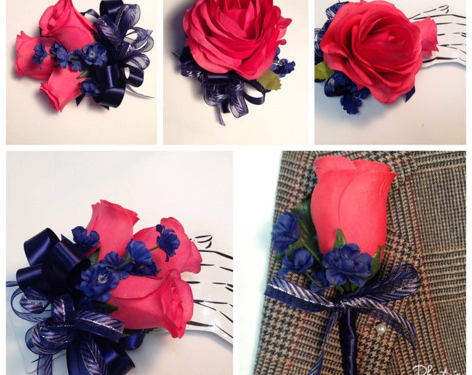 New Artificial Guava Rose Corsage with Navy, Guava and Navy Rose Mother's Corsage, Navy & Guava Bout