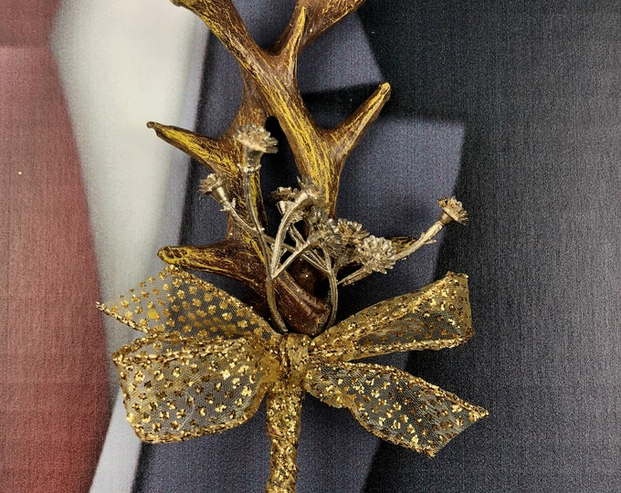 New Gold Artificial Antler Boutonniere, Gold Antler Bout, Gold Antler Bout, The Hunt is Over Bout