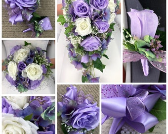 New  Silk Lavender and White Bridal Bouquet, Lavender and Baby's Breath Wedding Bouquet, Lavender Corsage, Lavender Bout