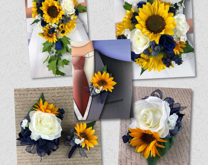 Artificial Navy and Sunflower Bridal Bouquet, Navy and Sunflower Bridal Flowers, Navy and Sunflower Wedding Flowers