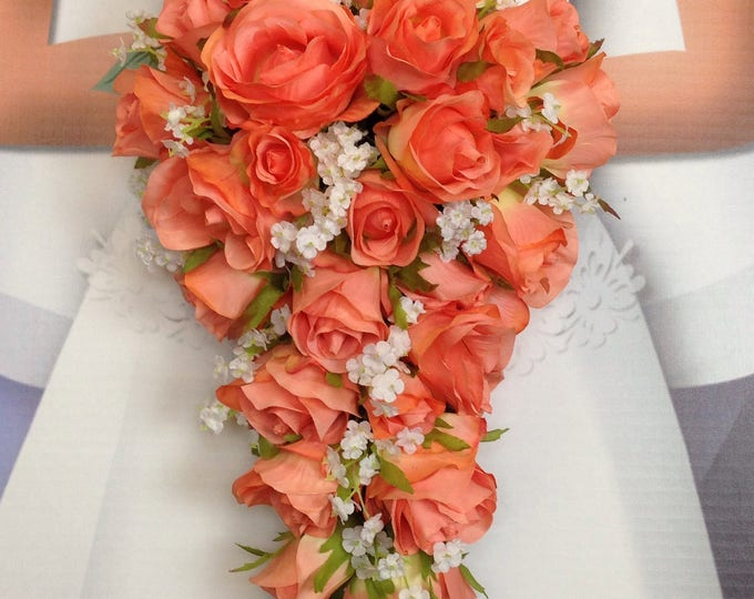 New Artificial Coral Reef Wedding Teardrop Bouquet, Baby's Breath and Coral Bridal Bouquet, Coral Reef Round Bouquet