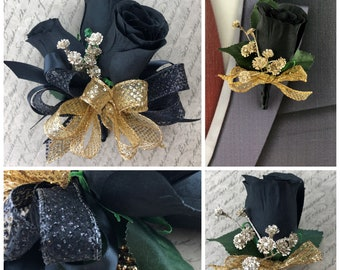 New Artificial Gold and Black Rose Corsage, Gold and Black Rose Boutonniere, Black and Gold Prom Flowers