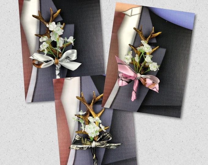 Artificial Antler Boutonniere, Camo Bout, Mossy Oak New Break Up Bout, Camo Men's Lapel Flower Custom Colors Available