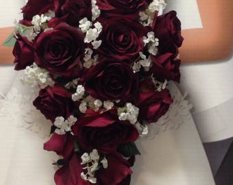 New Artificial Burgundy Teardrop Wedding Bouquet Flowers, White Baby's Breath and Wine Bridal Bouquet