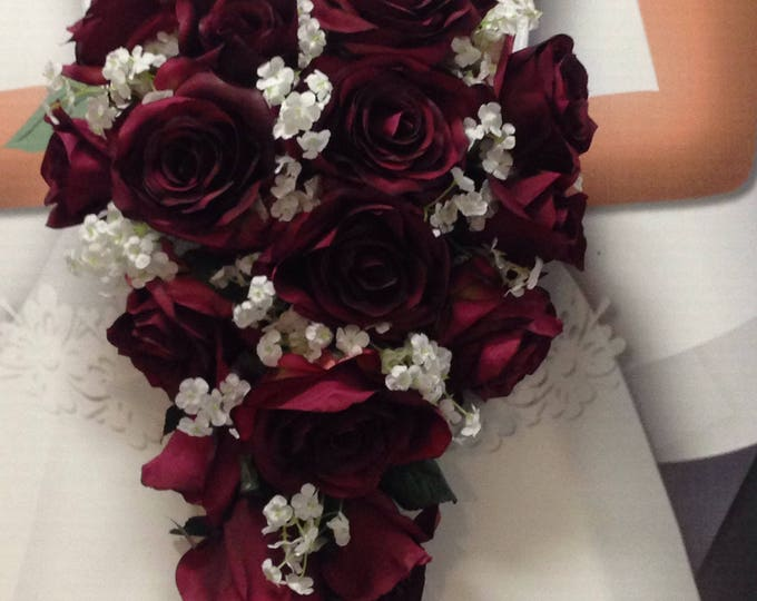 "New Artificial Burgundy Teardrop Wedding Bouquet, 15"" in length. White Baby's Breath and Wine Bridal Bouquet"
