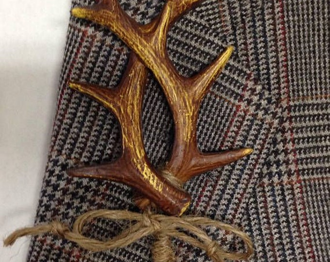 New Artificial Antler Boutonnieres, Antler Bout with Twine, Custom Ribbon Color also Available
