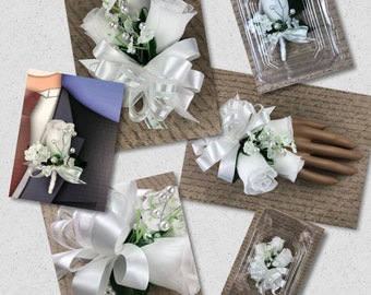 New Artificial White Rose Corsage with Pearls, White Rose Mother's Corsage, White Corsage, White Wedding Flowers