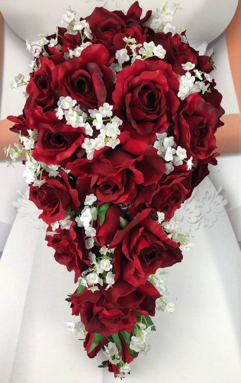 New Artificial Red Rose Wedding Bouquet Flowers Baby S Etsy