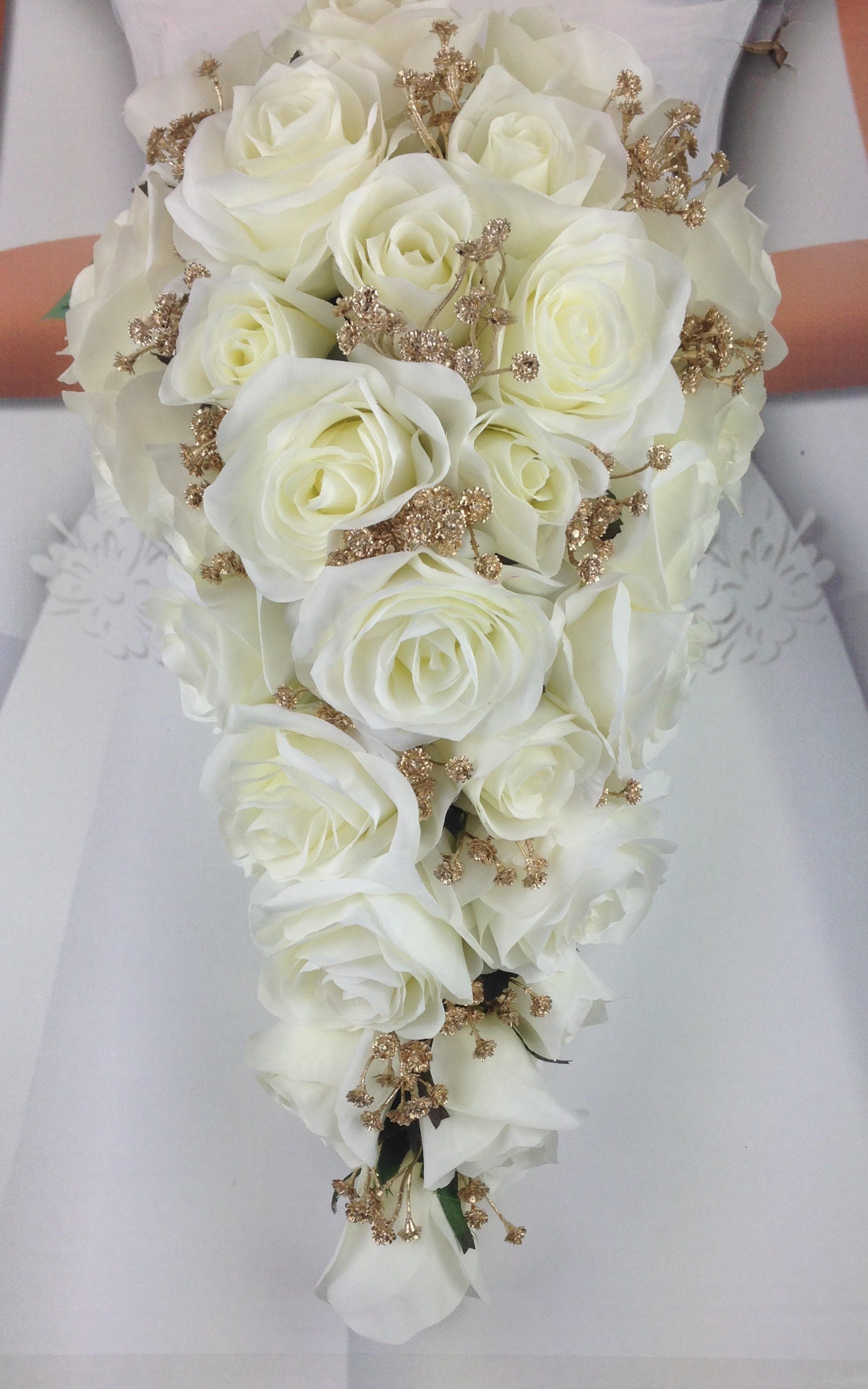 New Artificial White And Gold Wedding Teardrop Bouquet 18 In Length