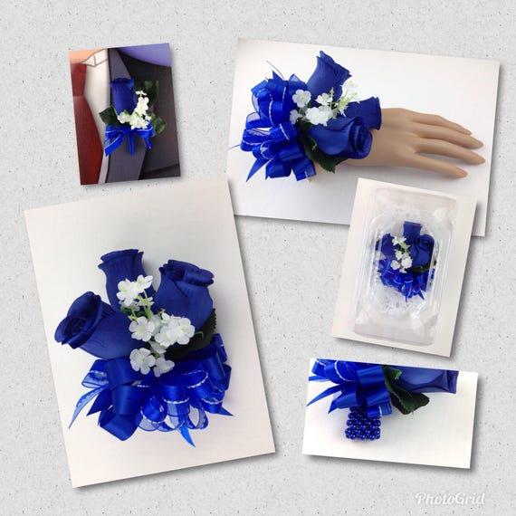 Nouvelle Corsage De Rose Artificielle Bleu Royal Royal Rose Etsy