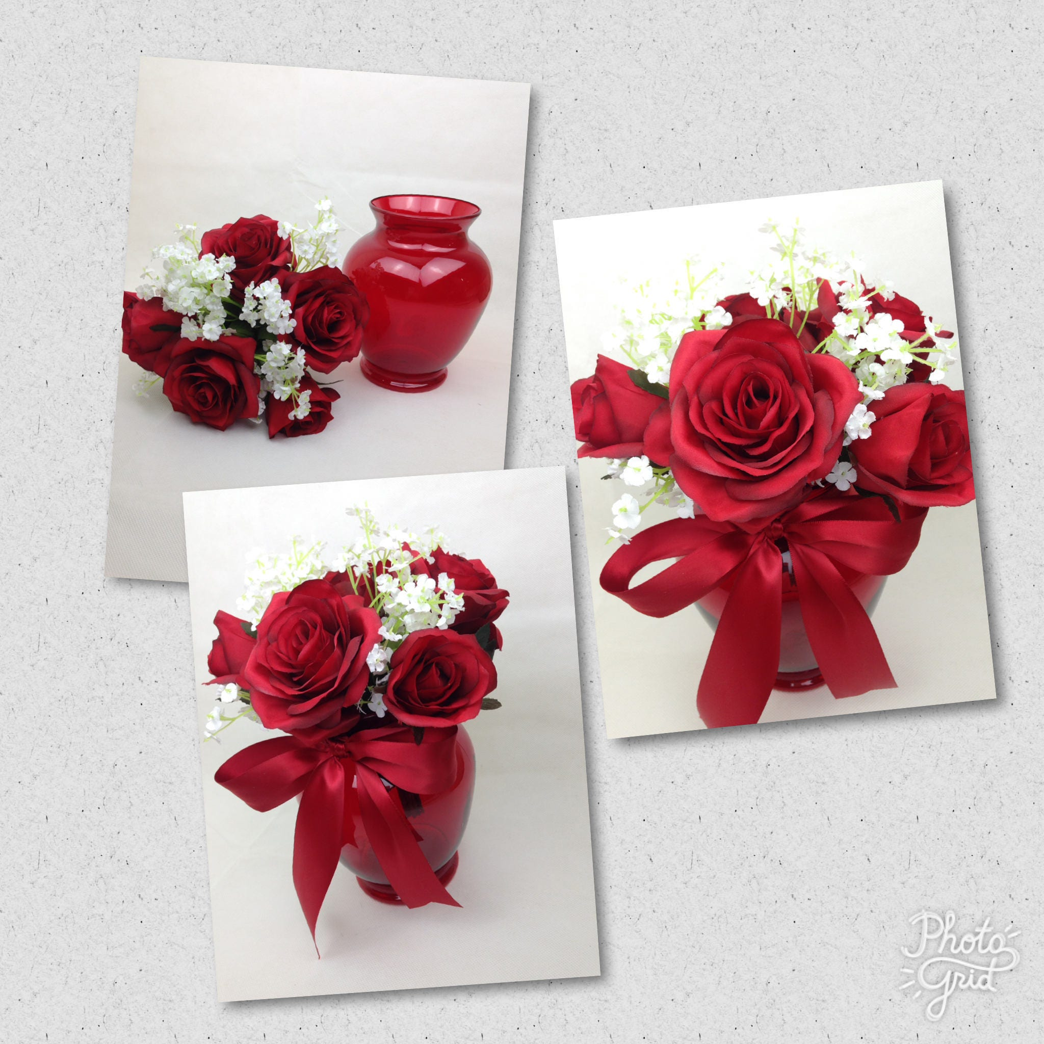Custom Apple Red Table Arrangements, Red Rose Wedding Arrangements ...