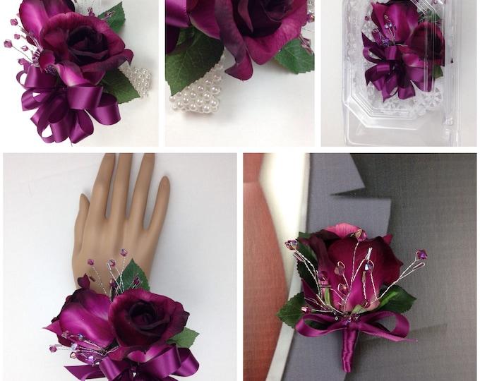 New Artificial Sangria Rose Corsage, Sangria Rose Mother's Corsage, Sangria Corsage,Sangria Bout