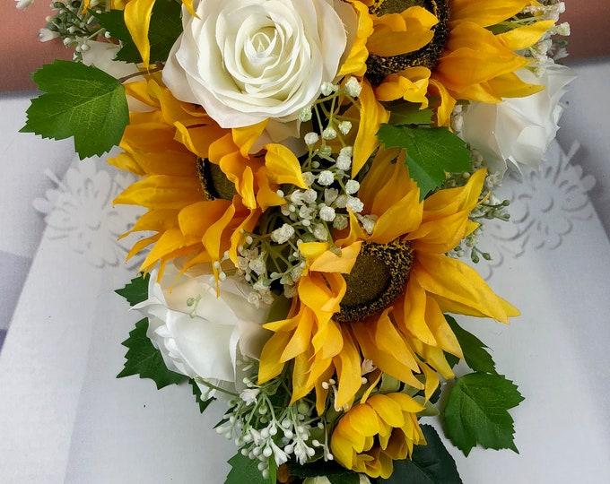 Artificial Sunflower Bridal Bouquet, Sunflower Bridal Flowers, Sunflower Wedding Flowers
