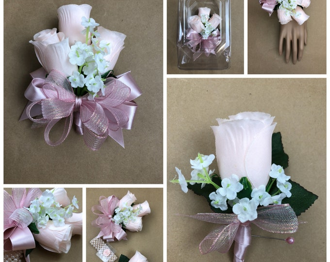 New Artificial Blush Pink Rose Corsage, Blush Rose Mother's Corsage, Blush Pink Corsage, Blush Wedding Flowers