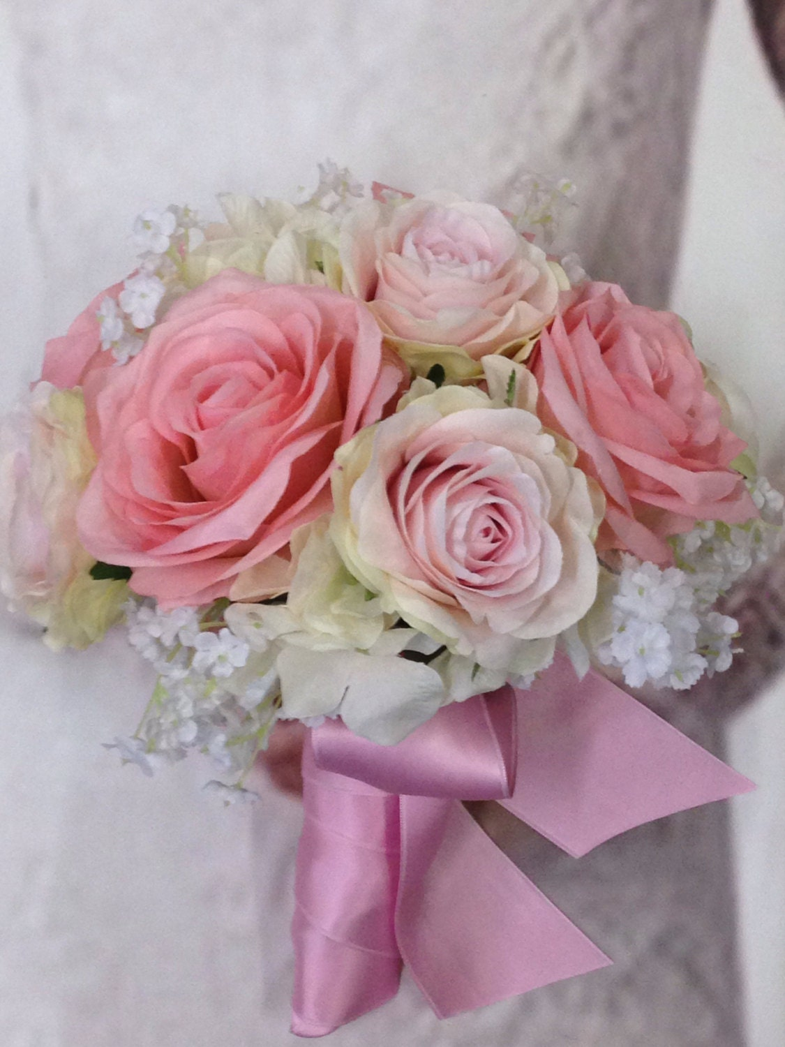 New Custom Lizzy Pink Silk Bridal Bouquet, Tickled Pink Bridal ...