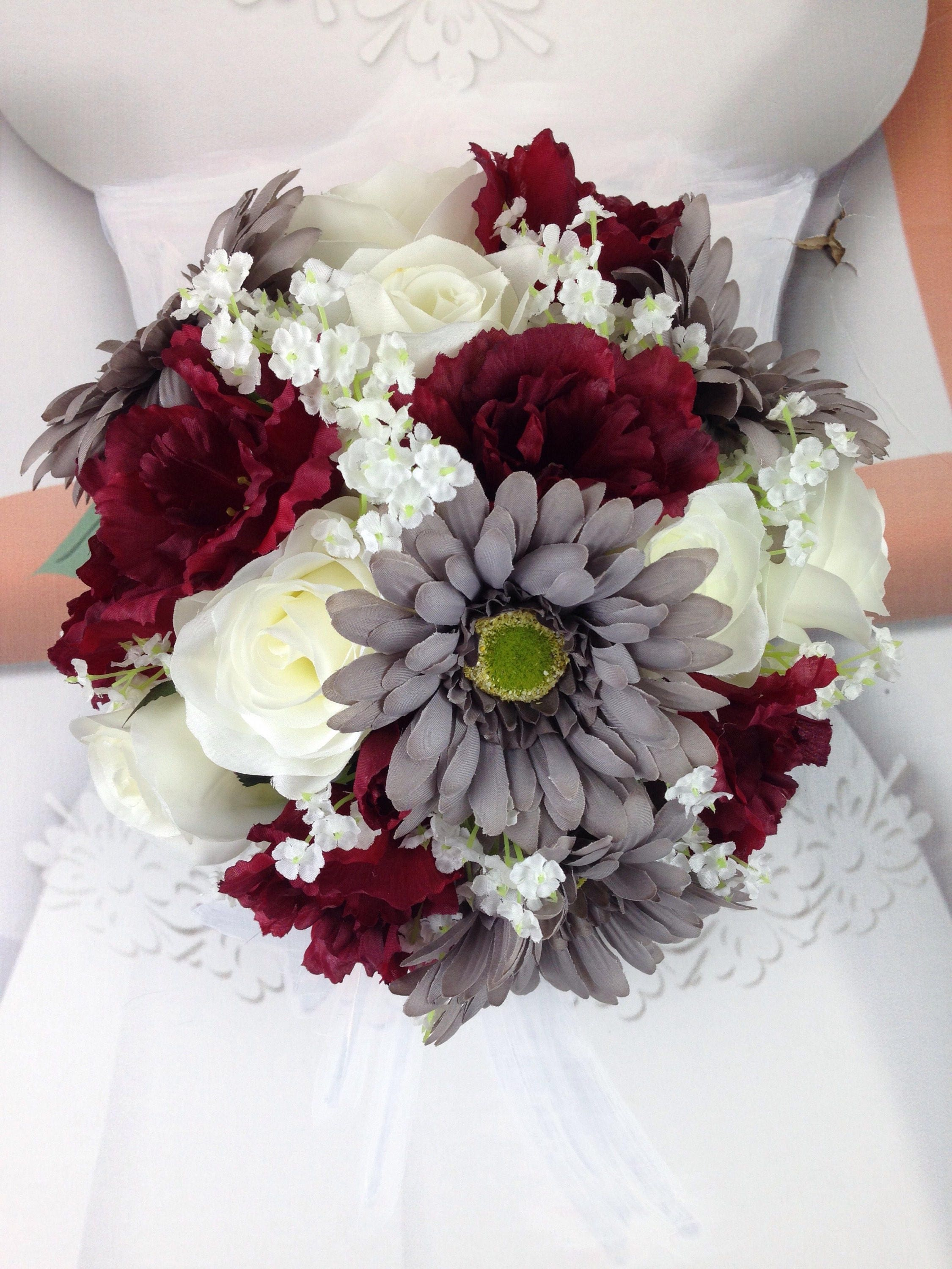 New artificial burgundy gray and white wedding flowers izmirmasajfo