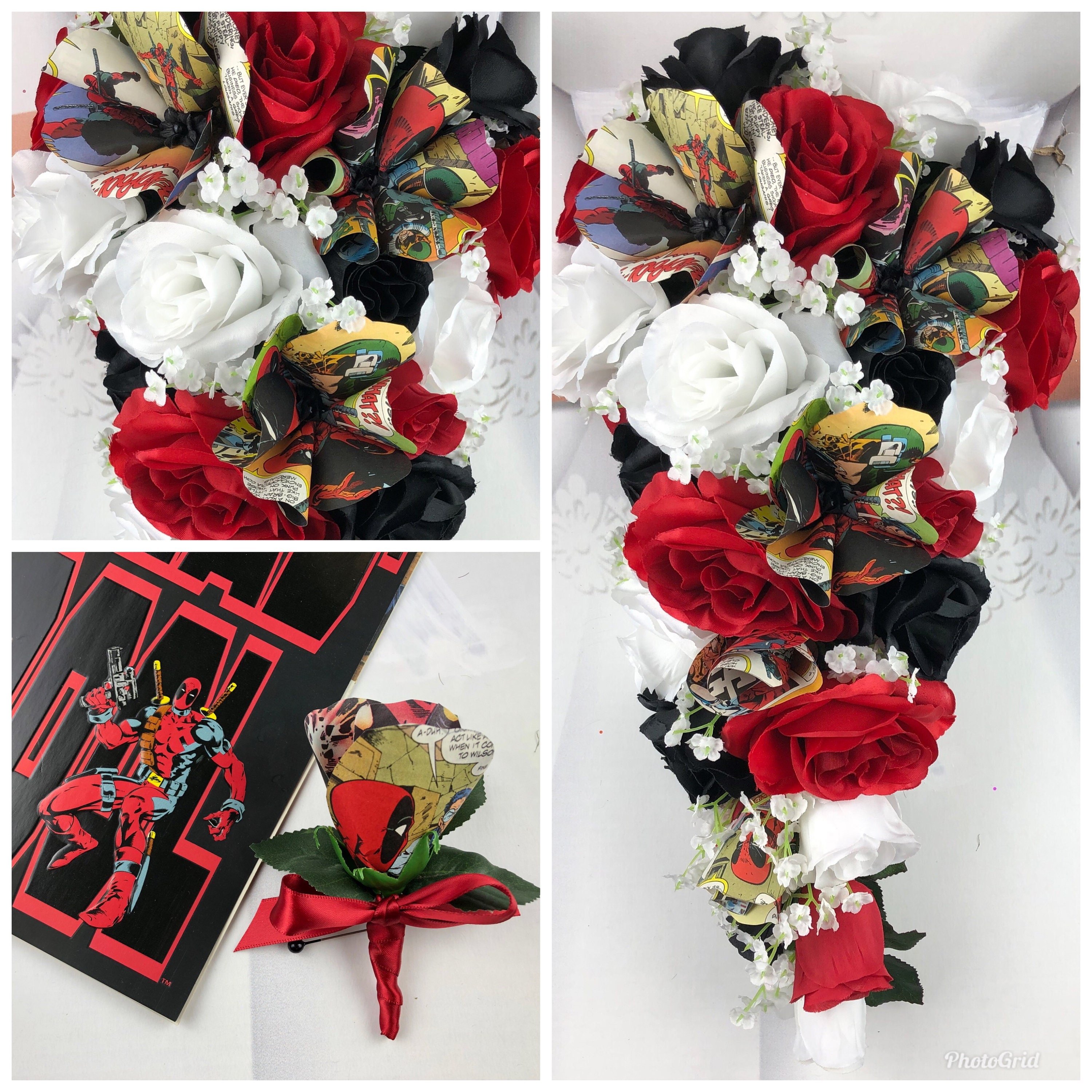 New Superhero Artificial Black Red And White Wedding Flowers