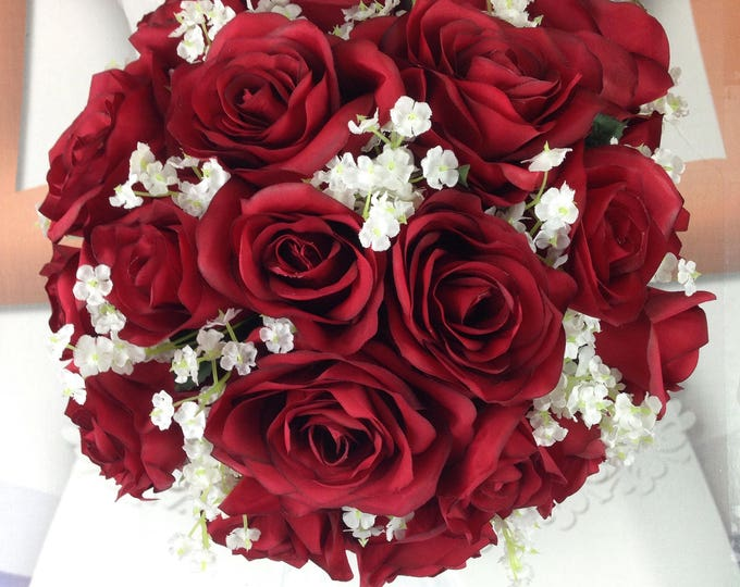 """New Artificial Apple Red Wedding Round Bouquet, 11"""" in diameter, Baby's Breath and Apple Bridal Bouquet"""