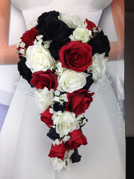 New Artificial Black Red And White Wedding Flowers Etsy