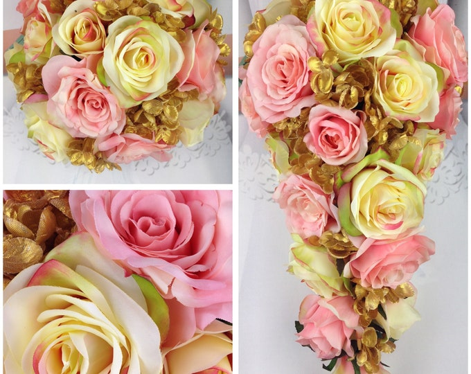 """New Artificial Rose Gold Wedding Teardrop Bouquet, 15"""" in length. Gold Hydrangea and Rose Gold  Bridal Bouquet"""