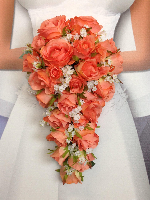 New Artificial Coral Reef Wedding Teardrop Bouquet Baby S Breath