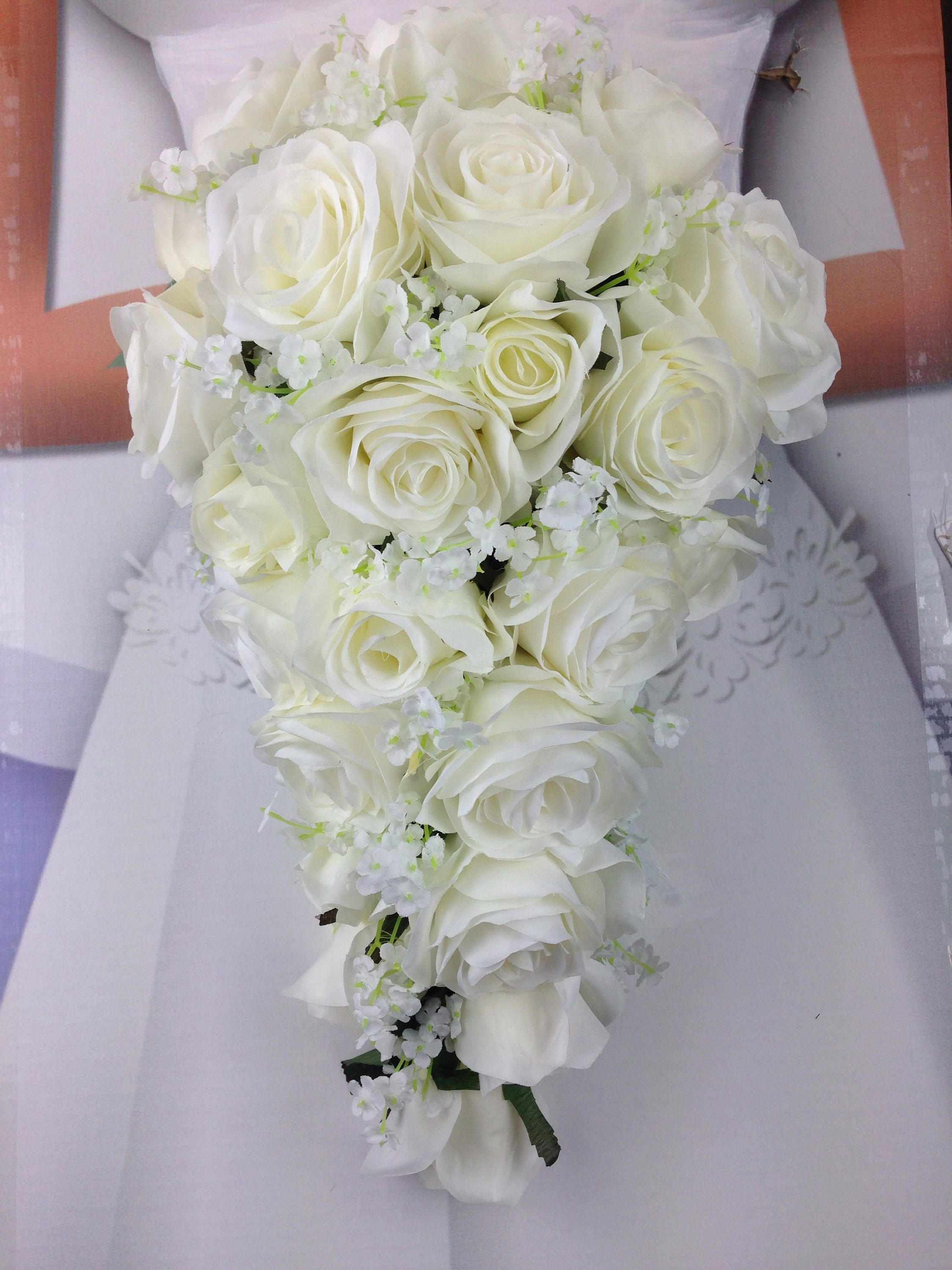 New Artificial White Wedding Teardrop Bouquet, 15 in length. Baby\'s ...