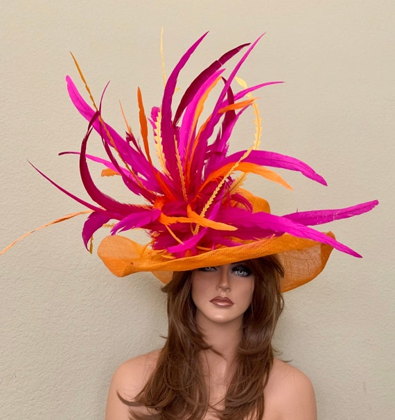 ORANGE /& PURPLE  SINAMAY /& FEATHER FASCINATOR CAN BE CUSTOM MADE TO MATCH OUTFIT