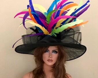 Wide Brim Black pink yellow blue orange purple Sinamay Kentucky Derby Hat