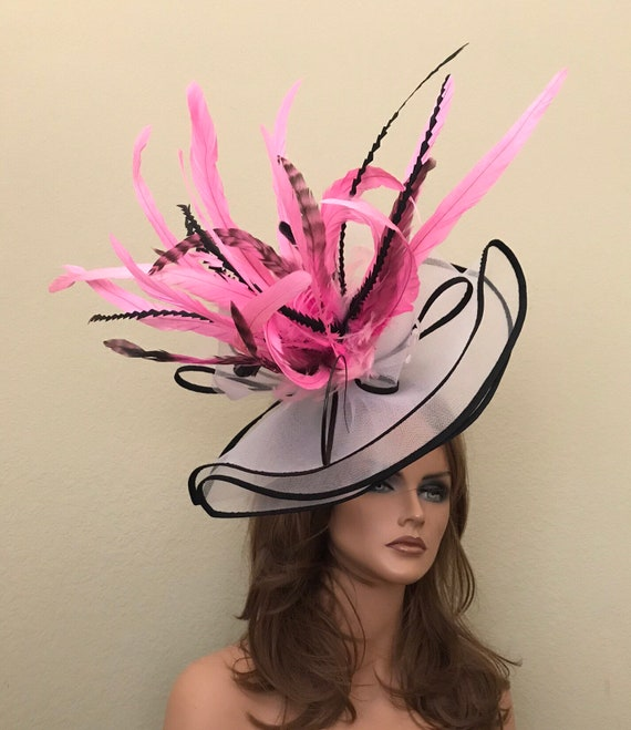 White Black Pink headband feathers fascinator hat kentucky  3c5147e3e00
