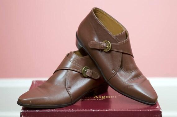 marron tabac 6 bretelle boucle de Vintage bottines nbsp; beurre cuir doux nbsp;Etienne avec Aigner taille pqC8wfY