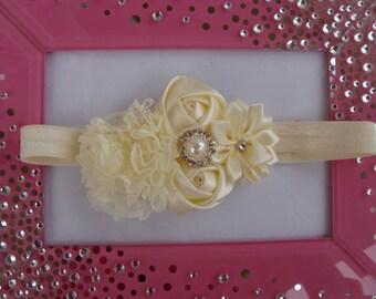 Ivory headband Baby Headband newborn headband Flower Headband elastic Headband flower Headband with rhinestone fancy headband